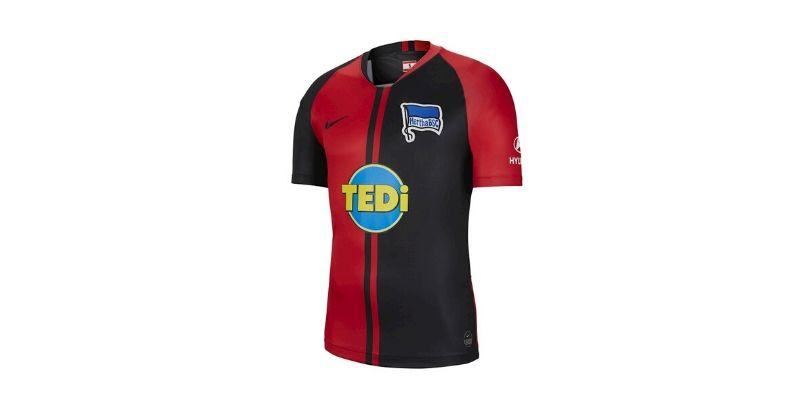 red hertha berin 2019-20 away shirt with tedi sponsor