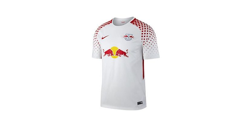 white and red red bull leipzig home shirt from 2017-18
