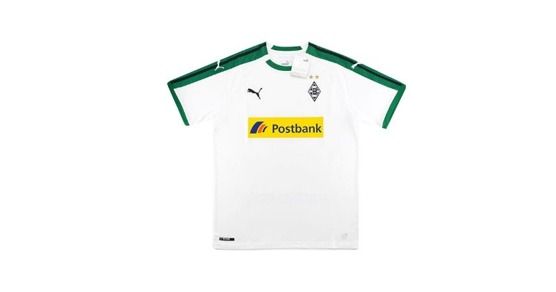 white borussia monchengladbach home shirt with yellow postbox sponsor