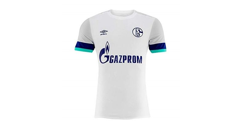 smart white schalke 2019-20 away kit with dark blue and turquoise cuffs