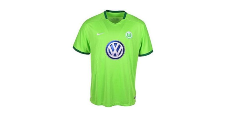 lime green wolfsburg home shirt with volkswagen sponsor