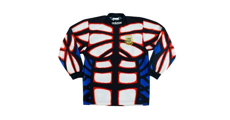 argentina 1996 goalkeeper kit with bright human torso pattern