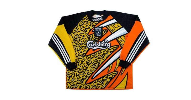 yellow and orange liverpool 1995 goalkeeper shirt