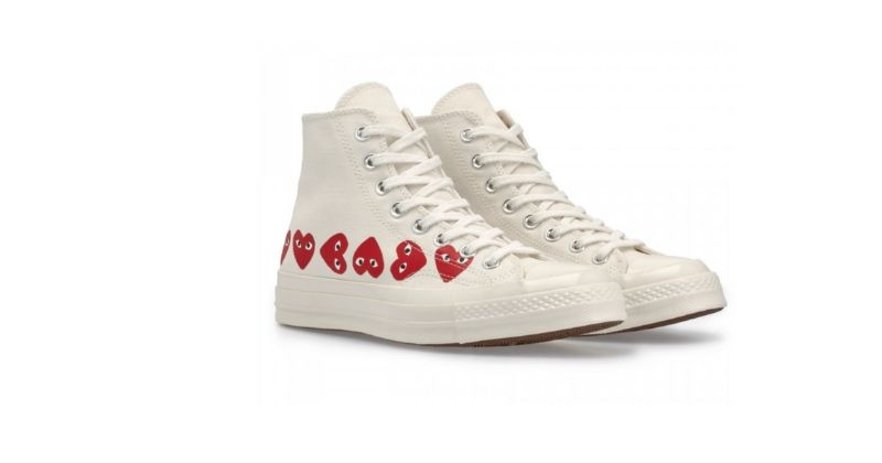 converse x commes des garcons trainers in white with red heart logos