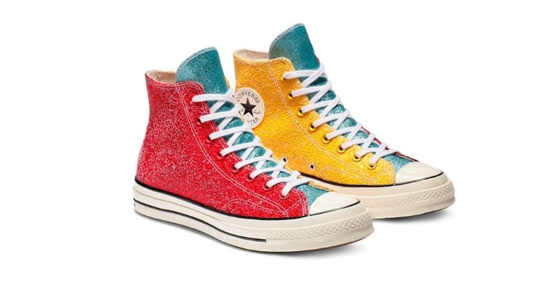 glittery colourful converse x jw anderson trainers