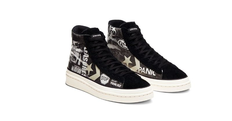 black converse x pleasures high top trainers