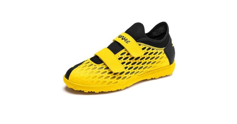 bright yellow puma future velcro boots