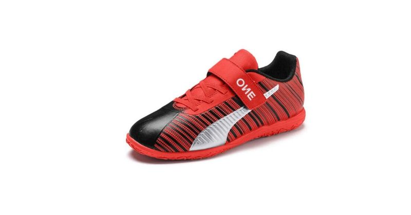velcro puma one kids football trainers in red and black