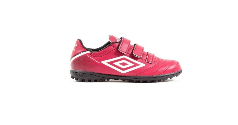 red umbro classico football boots with velcro strap