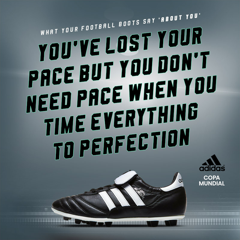 adidas copa mundial boots with text saying wearers have lost their pace, but time everything to perfect