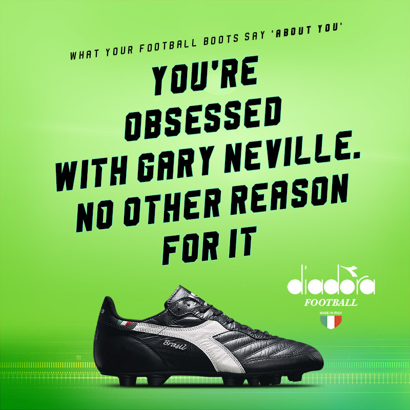 black diadora brasil football boots with text saying you must be obsessed with gary neville