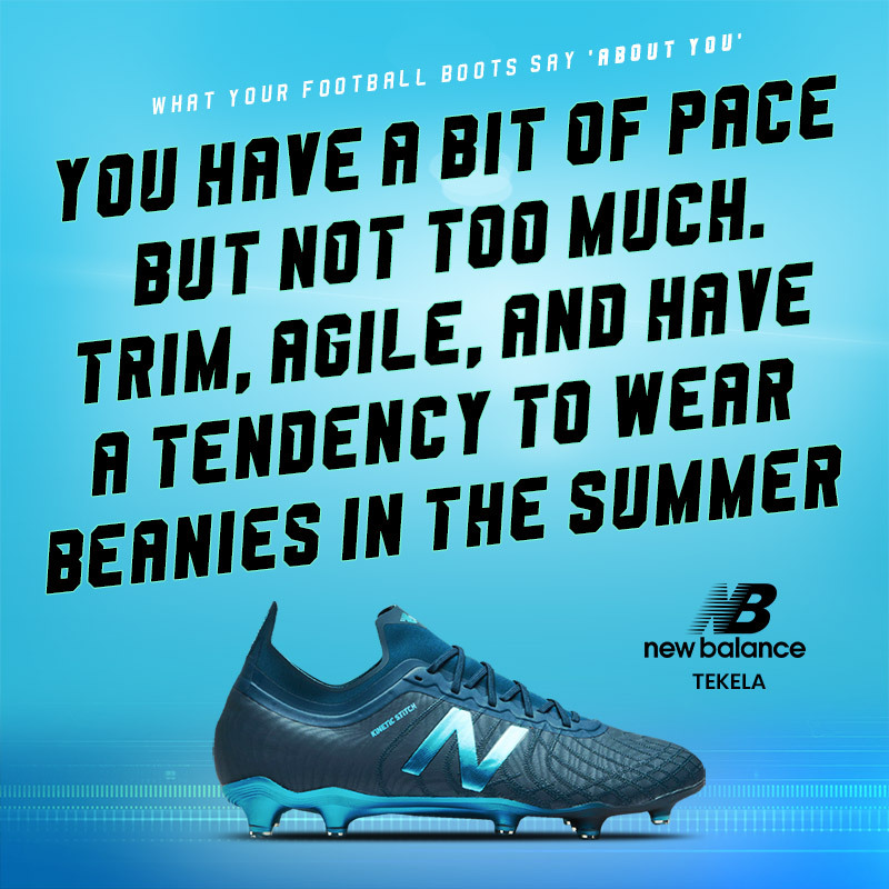 blue new balance tekela boots with text saying wearers are fast and agile