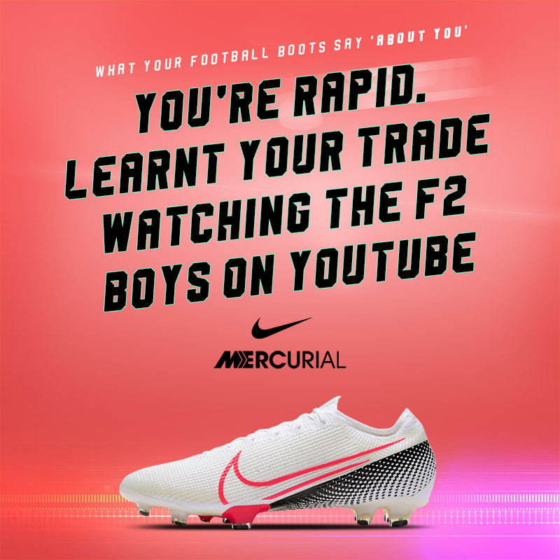 white nike mercurial vapor boots with text that says they're for fast players