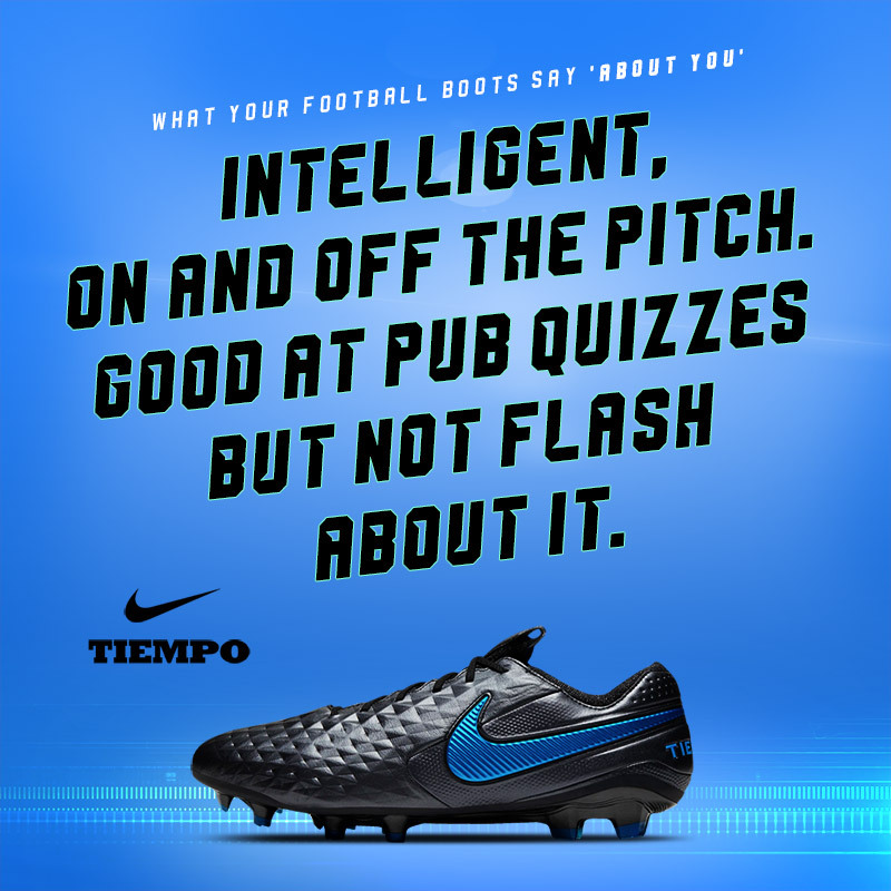 black nike tiempo boots with text stating wearers are intelligent