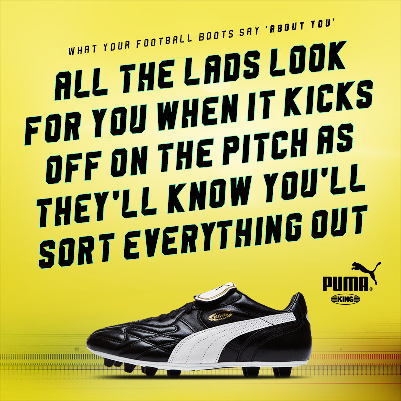 classic puma king boots with text saying you must be hard if you wear them