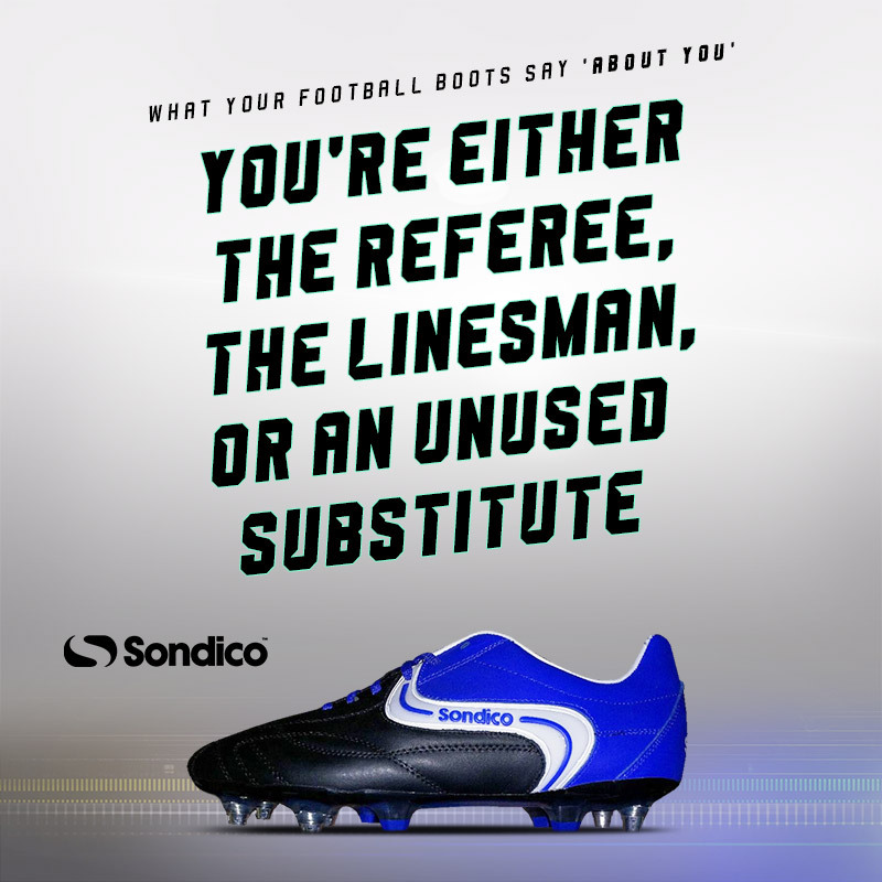 sondico boots with text saying they're only worn by linesmen and referees