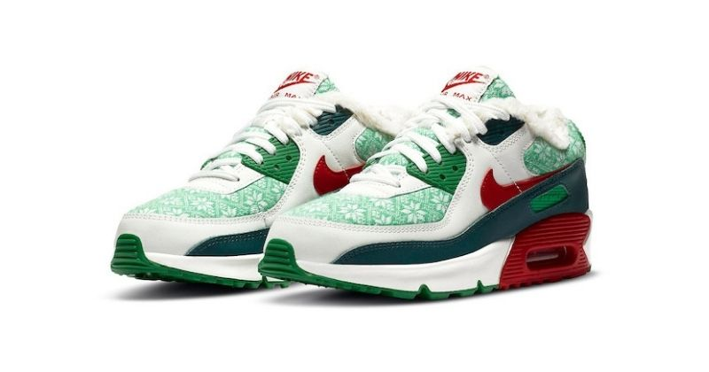 nike air max 90 in white and ugly sweater colours