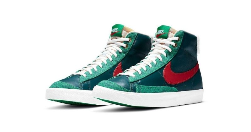 nike blazer in green and ugly sweater colours
