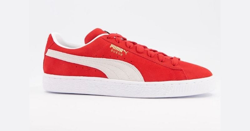 puma suede trainers in red and white
