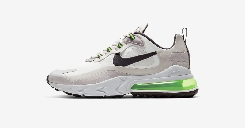 mens nike air react 270 trainers in white and green