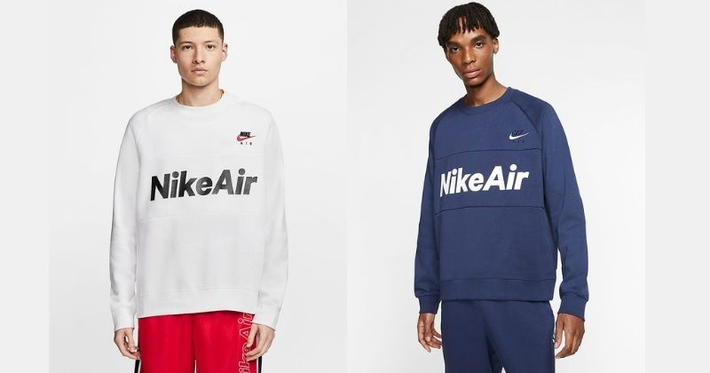 nike air fleece crew jumper in white and blue