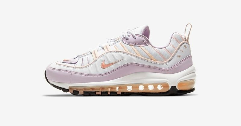 nike air max 98 in white and pink