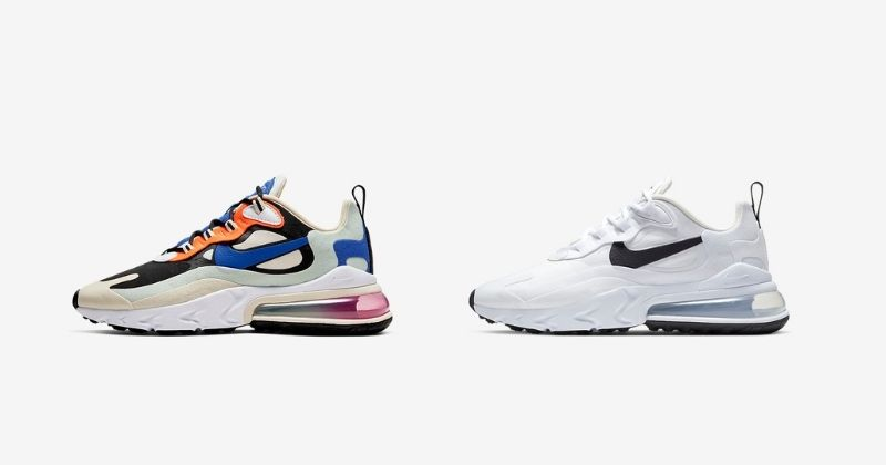 nike air max react 270 in white and white blue and orange