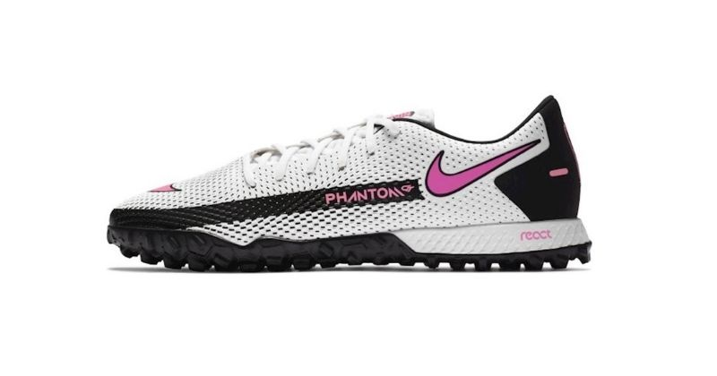 nike phantom gt in white and pink astro turf boot