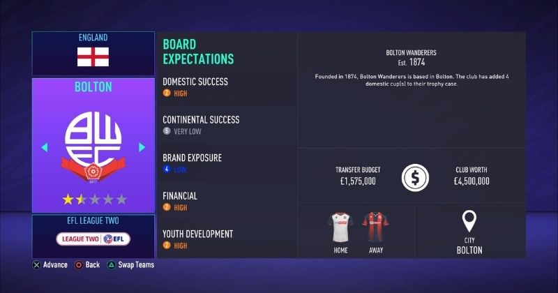 bolton wanderers in fifa 21 career mode