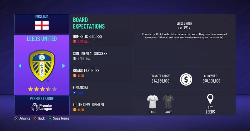 leeds united in fifa 21 career mode