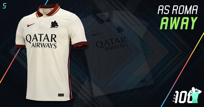 white as roma 2020-21 away kit with lupetto crest