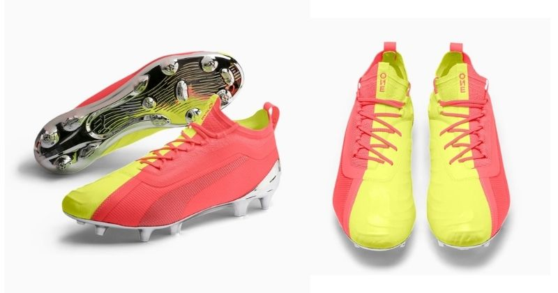 puma ultra football boots in pink and yellow