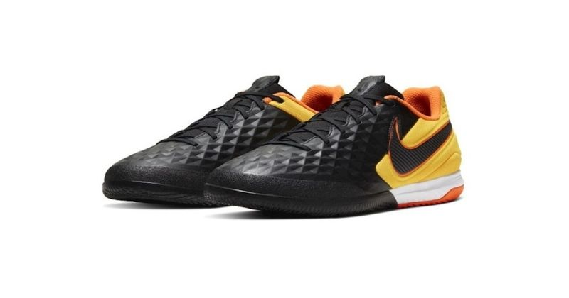 nike tiempo legend 8 pro indoor football shoes in black and orange