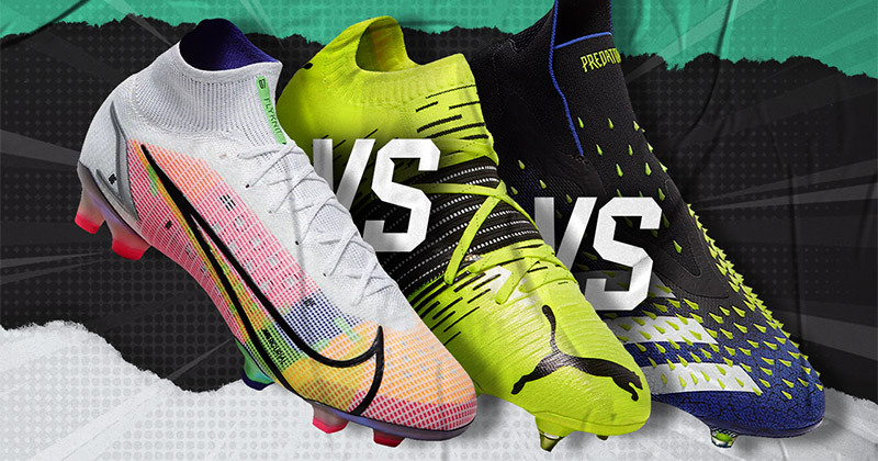 nike mercurial, adidas predator and puma future z all side by side