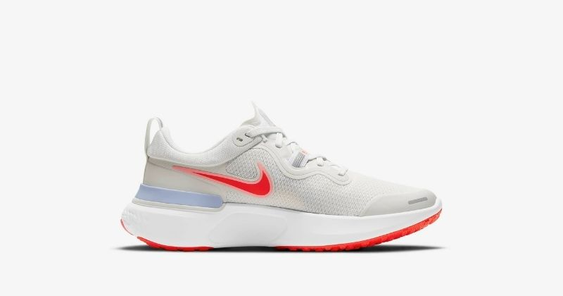 nike react miler in white and bright crimson