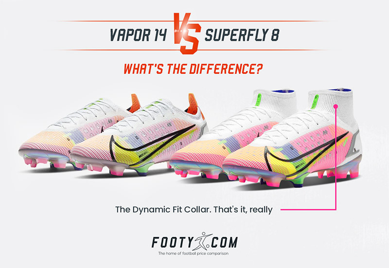 graphic showing the differences between the nike mercurial vapor 14 and superfly 8
