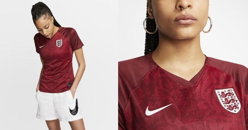 england womens 2019 away shirt with red rose pattern