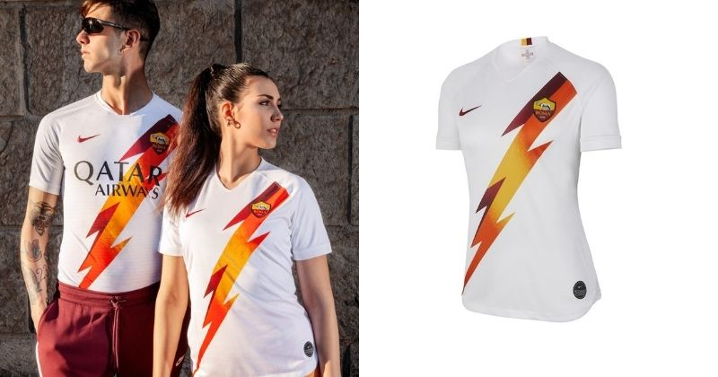 as roma 2019/20 womens away shirt with lightning bolt graphic